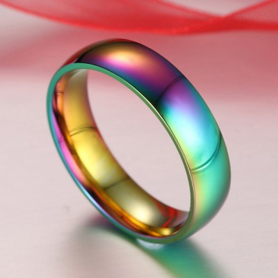 Titanium Gold Colorful Men's Ring