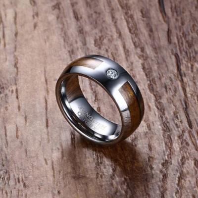 Tungsten Silver Round Cut White Sapphire Brown Men's Ring