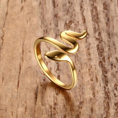 Titanium Gold Snake Promise Rings For Her