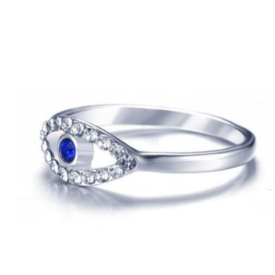 Titanium Round Cut Blue & White Sapphire Silver Promise Rings For Her