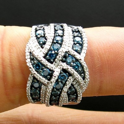 Twisted Blue Sapphire Cocktail Bands