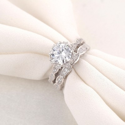 Vintage Round Cut White Sapphire Bridal Sets