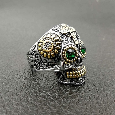 Cool Emerald Eyes Titanium Skull Ring for Men