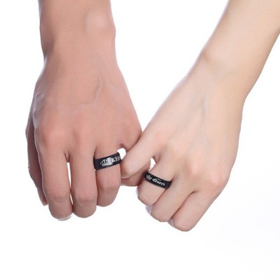 King & Queen Black Titanium Couple Rings