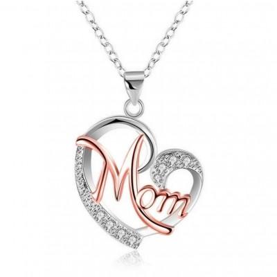 "Round Cut White Sapphire Multicolor Heart ""Mom"" Necklace"