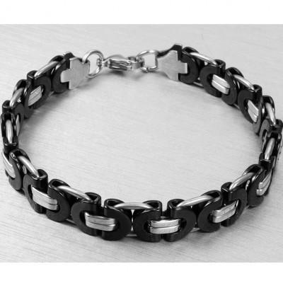 Black and Silver Chain Design 925 Sterling Silver Bracelet