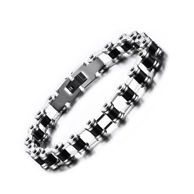 Silver and Black Chain Design 925 Sterling Silver Bracelet