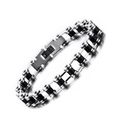 Silver and Black Chain Design 925 Sterling Silver Bracelet