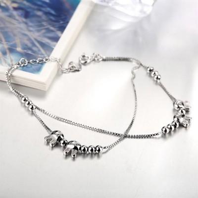 Cute Bunny Beads Pendant S925 Silver Bracelets
