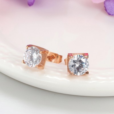 Round Cut White Sapphire Rose Gold 925 Sterling Silver Earrings