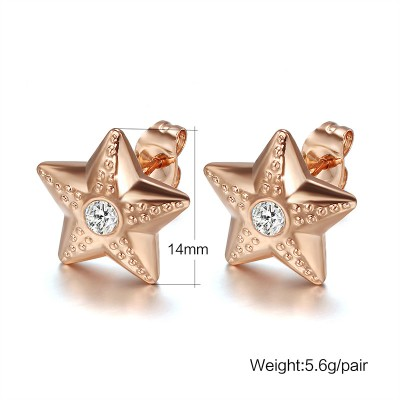 Star Round Cut White Sapphire Rose Gold 925 Sterling Silver Earrings