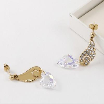 Heart Cut White Sapphire Gold S925 Silver Earrings