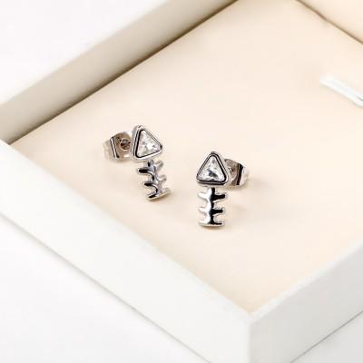 Trillion Cut White Sapphire Fish Bone S925 Silver Earrings