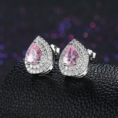 Pear Cut Pink Sapphire S925 Silver Earrings