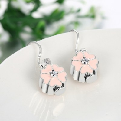 Round Cut White Sapphire Pink S925 Silver Earrings