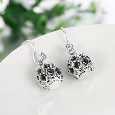 Round Cut White Sapphire Cute S925 Silver Earrings