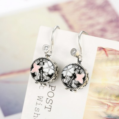 Round Cut White Sapphire S925 Silver Lovely Earrings