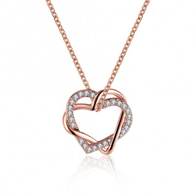 Hearts Round Cut White Sapphire Gold/Rose Gold Titanium Necklaces
