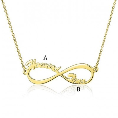 925 Sterling Silver Gold Infinity Two Name Necklace
