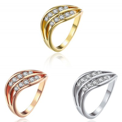 Round Cut White Sapphire Rose Gold/Silver/Gold Titanium Wedding Bands