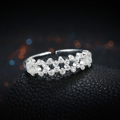 Nice Round Cut White Sapphire S925 Silver Bands