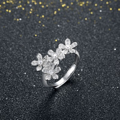 Round Cut White Sapphire S925 Silver Petal Promise Rings