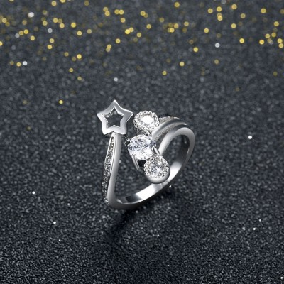 Round Cut White Sapphire Star S925 Silver Promise Rings