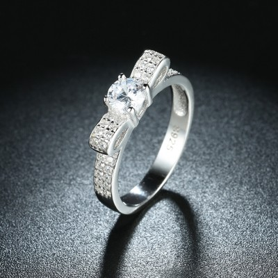Round Cut White Sapphire Bowknot S925 Silver Promise Rings