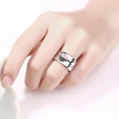 Endless Love White and Black Sapphire s925 Silver Rose Gold Couple Rings