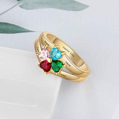 Heart Cut 4-Stone 925 Sterling Silver Personalized Engraved Birthstone Ring