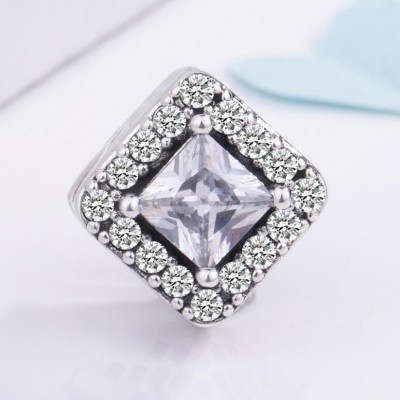Princess Cut Stone Charm Sterling Silver