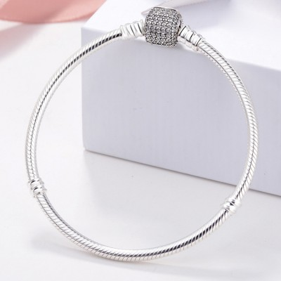 Pave Crystal Clasp Bracelet Sterling Silver