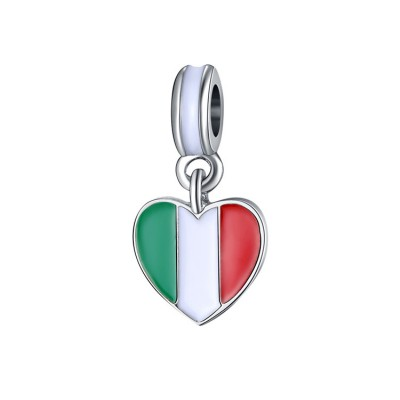 Italian Flag Charm Sterling Silver