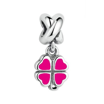 Clover Fuchsia Charm Sterling Silver