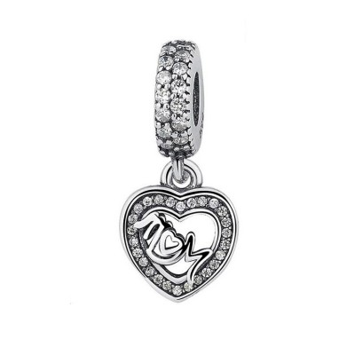 Mom & Heart Charm Sterling Silver